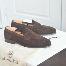 Massimo Dutti Dark Brown Suede Penny Loafers Men's Shoes 8 UK