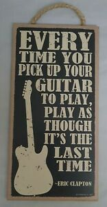 """Pick Up Guitar To Play Like Last Time Music Bar Sign Wall Art Decor 10""""x5"""""""