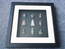 Native American Arrowheads in 3D Picture Frame, Authentic Artifacts (W022)