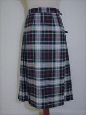 Vintage Preswick & Moore Green Blue Tartan Plaid Wool Pleated Kilt Wrap Skirt 10