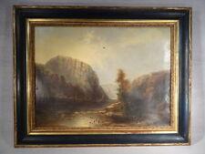 ADELE CHAISEMARLIN ANCIEN TABLEAU HUILE SUR TOILE PAYSAGE RIVIERE BATEAUX 1878