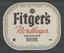 1970s FITGERS NORDLAGER BEER BOTTLE LABEL DULUTH MINN - 1 QUART - UNUSED