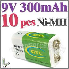 10 x 9V 9.0 V 300mAh Ni-MH Rechargeable Battery PP3 GTL