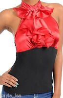 Red/Black Ruffle Front Contrast Fitted Waist Halter Vest Top