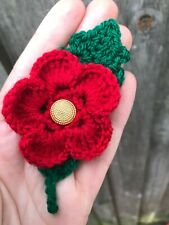 Valentines day gift idea Red flower brooch Hand Crochet Safety pin back