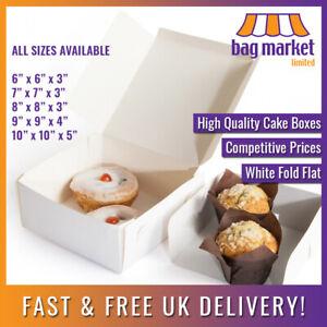 White Cake Boxes! Fold Flat   Pastry/Birthday/Dessert/Cupcake/Bakery/Wedding/Box