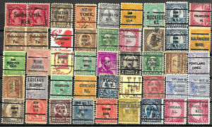 US - Collection of 45 old precanceled stamps - See Scan