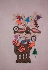 KW 612 Reindeer with Candy Cane Xmas Stocking HP Hand Painted Needlepoint Canvas