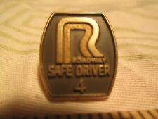 Vtg Roadway 4 Year Trucking Safety Driver Award Driving Screwback Pin