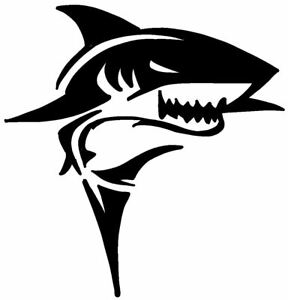 StickAny Bathroom Decal Series Great White Shark Sticker for Toilet Bowl Black Bath Seat