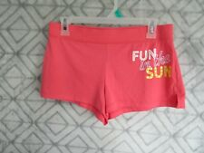 Unbranded Shorts Size M 7 9 Juniors Pink Words Fun in the Sun Short Casual