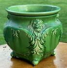 """Antique Large 10"""" 'Lions Head Eating Fish' Weller? Majolica Pottery Jardiniere"""
