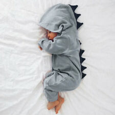 Newborn Infant Baby Boy Girl Kids Dinosaur Hooded Romper Jumpsuit Clothes Outfit Grey 0-3 Months
