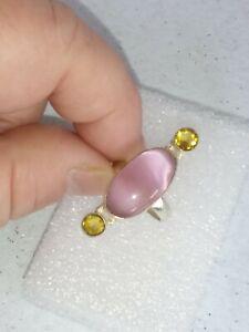 Ring Pink Cats Eye, Yellow Topaz Sz 6½ Solid 925  beawen