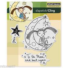 New Penny Black LULU ON THE MOON Slapstick Cling Stamps Girl Child Dog Stars