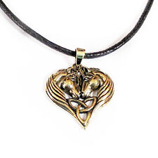 New Lisa Parker Bronze Unicorn Heart Pendant Cord Necklace in Gift Pouch