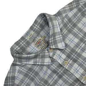 Mint ! XL Faherty Slim Fit Natural Grey Plaid 100 % Organic Cotton Flannel