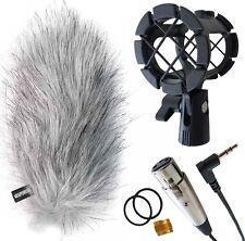 KEEPDRUM Richtmikrofon Zubehörset Windschutz WSWH+Spinne PCMH+TRS/XLR Kabel 0,3m