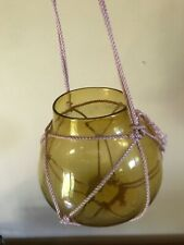 Vtg Amber Blown Glass Hanging Planter Vase Fish Bowl w Rope Hanger Buoy style
