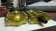 """Old School BMX Victor Rat Trap Pedals GOLD 1/2 """" NOS Cruiser Vintage 1-piece"""