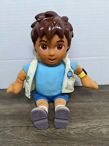 """Go Diego Go Talking Doll Nick Jr. Fisher Price 14"""" With Vest 2006 Tested Works"""