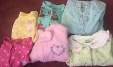 Baby Girl 6 Mo. Sleepers One Piece Lot Of 6 Carters & Jumping Bean