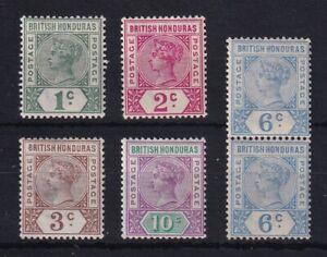BRITISH HONDURAS 1891-1901 QV Group as Scan (3c has thin) inc 6c SG56 Pair MINT