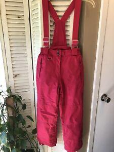 32 Degree Weatherproof Hot Pink Ski Bibs Size M 10/12