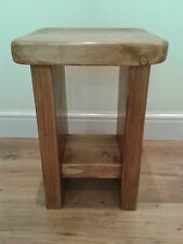 Hand Made Slab Sided Rustic Solid Wood Side Table With Shelf