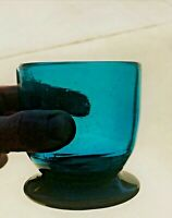 """Hand-blown contemporary glass 3.8"""" vase bowl turquoise body amythyst/black foot"""