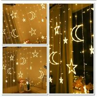 Star Moon Fairy Lights Led Curtain String Light Garland Decorations +AU Adapter