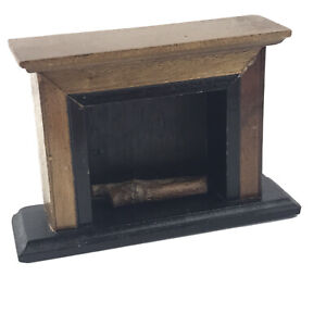 Vintage Dollhouse Miniatures Fireplace with Mantle and Logs - Wood Furniture