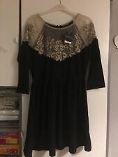 Topshop Cut Out Lace Bodycon Black&Beige Party Dress Size 10 Rpp £99 Brand New