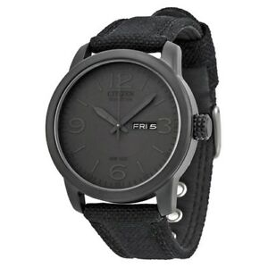 Citizen Men's Black Canvas Eco Drive Watch - BM8475-00F NEW