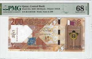 P-37a 2020 200 Riyals, Qatar Central Bank, PMG 68EPQ SUPERB GEM +