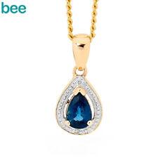 Classic Teardrop Sapphire & Diamond 9ct Yellow Gold Pendant
