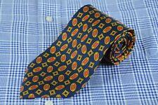 Richel Royal Men's Tie Navy Gold & Red Geometric Silk Necktie 57 x 3.5 in.