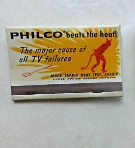 """1950's Larger Size Matchbook. Philco 19"""" TV Beats the Heat Causing TV Failure."""