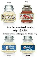 4 x PERSONALISED Christmas Yankee Candle Small LABEL Sticker. YES FOUR labels!