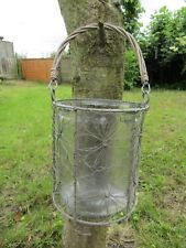 Hand Made Finished Wire Flower Candle Lantern T Tea Light Holder Hanging Basket