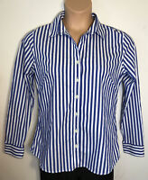 Banana Republic womens shirt top button down blue white stripe no iron size 12