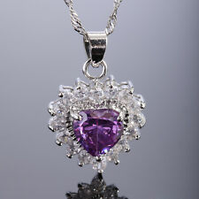 Wedding Jewelry Heart Pink SApphire White Gold Plated Gp Pendant Necklace Chain