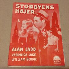 """The Glass Key"" Alan Ladd Veronica Lake Vtg 1942 Danish Original Movie Program"