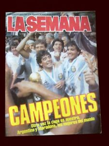 FIFA WORLD CUP MEXICO 1986 - ARGENTINA CHAMPION - La Semana Magazine + Poster