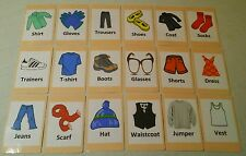 Clothing Flash Cards Set - Educational Learning Picture & Word Card Pack
