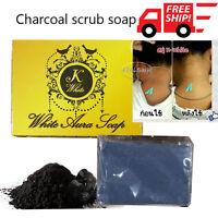 Charcoal Scrub Soap Body Aura detox your skin,smooth,bright,soft 100 g.