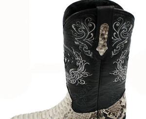 Men's genuine python snake skin cowboy boots exotic biker J Toe+ Free Face Mask