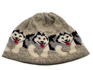 VTG LL Bean knit hat wool blend brown beige intarsia HUSKY DOGS winter beanie
