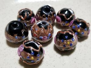 VINTAGE JAPANESE HAND MADE BLACK MILLEFIORI GOLD DUST ART GLASS BEAD / 8 PC/ LOT