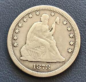 1878-cc Bust Quarter  F / VF , scarce